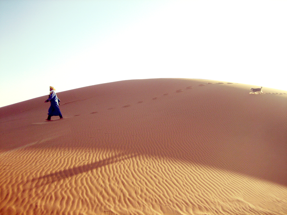 Bedouin & Dog - Sahara Desert, Morocco