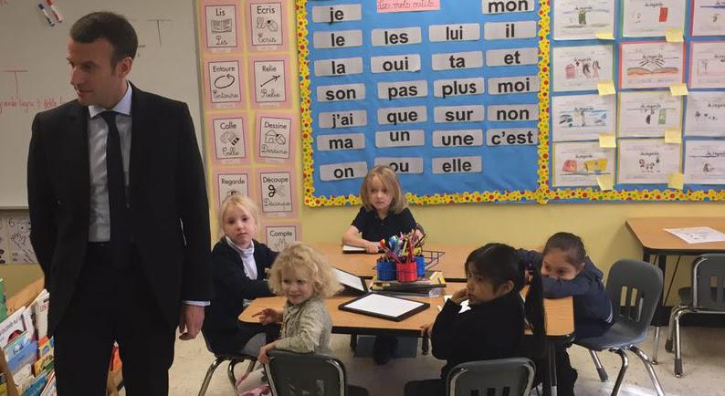 Mr Macron est venu saluer les élèves de la classe de Grande Section Maternelle KA