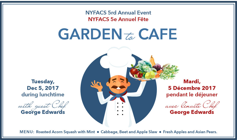 Parents volunteers needed for this event from 11:45am to 1:30pm. We would appreciate your help to assist lunch staff and guest chef George Edwards, so that the children can enjoy and appreciate this generously sponsored event to begin our school gardening year! Please email dlynch@nyfacs.net if you can help.