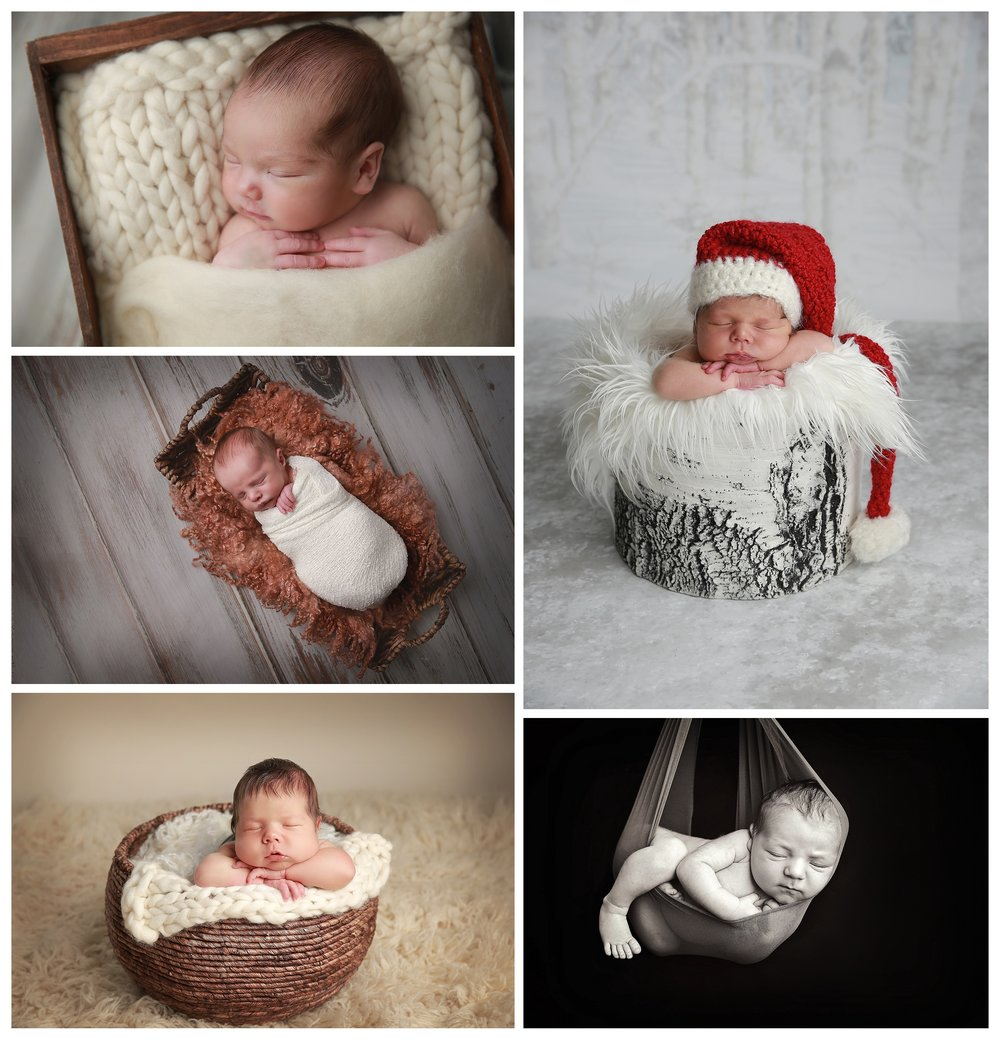 I have several baskets, a curved wicker basket, a flatter longer basket and a brown crate all make for adorable props. I also have a white birch tree truck for the winter months and a sling for a simple clean fresh in the womb feel.