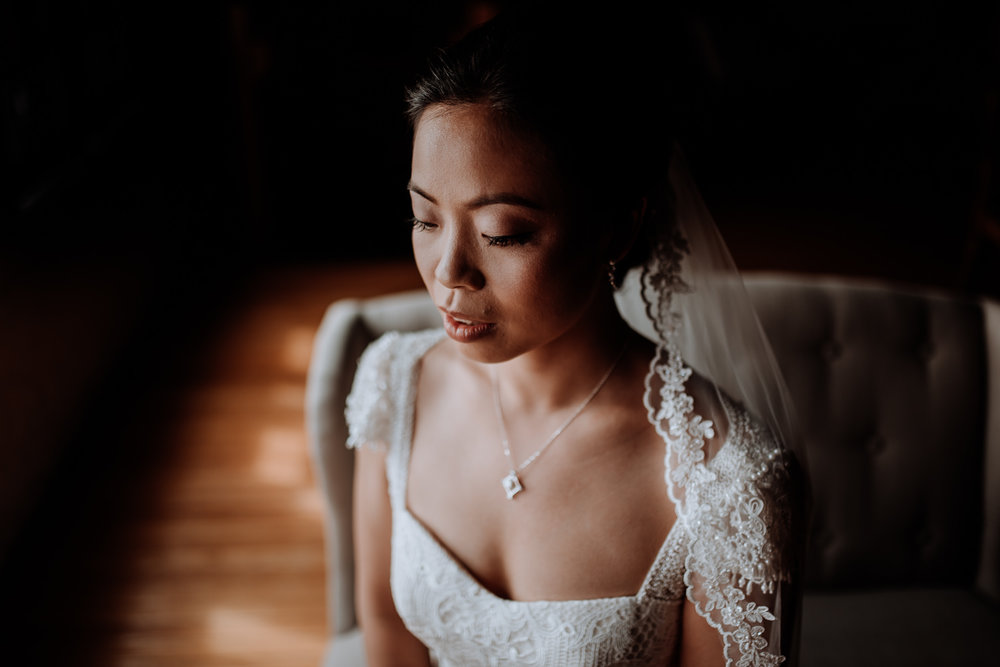 elegant bridal portrait at red maple vineyard wedding