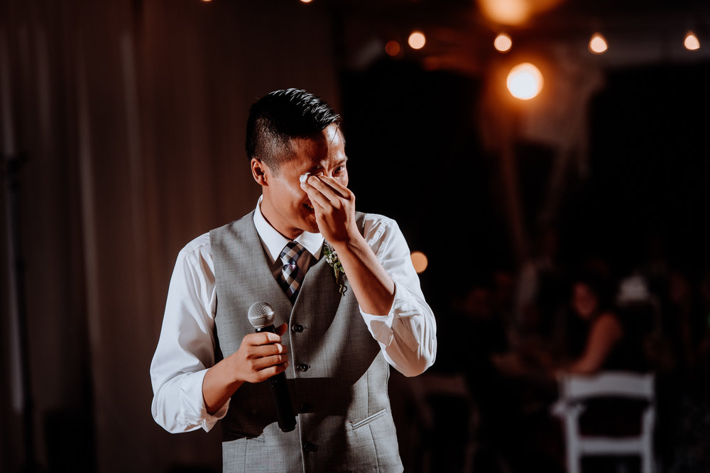 brother of the bride tears up during speech