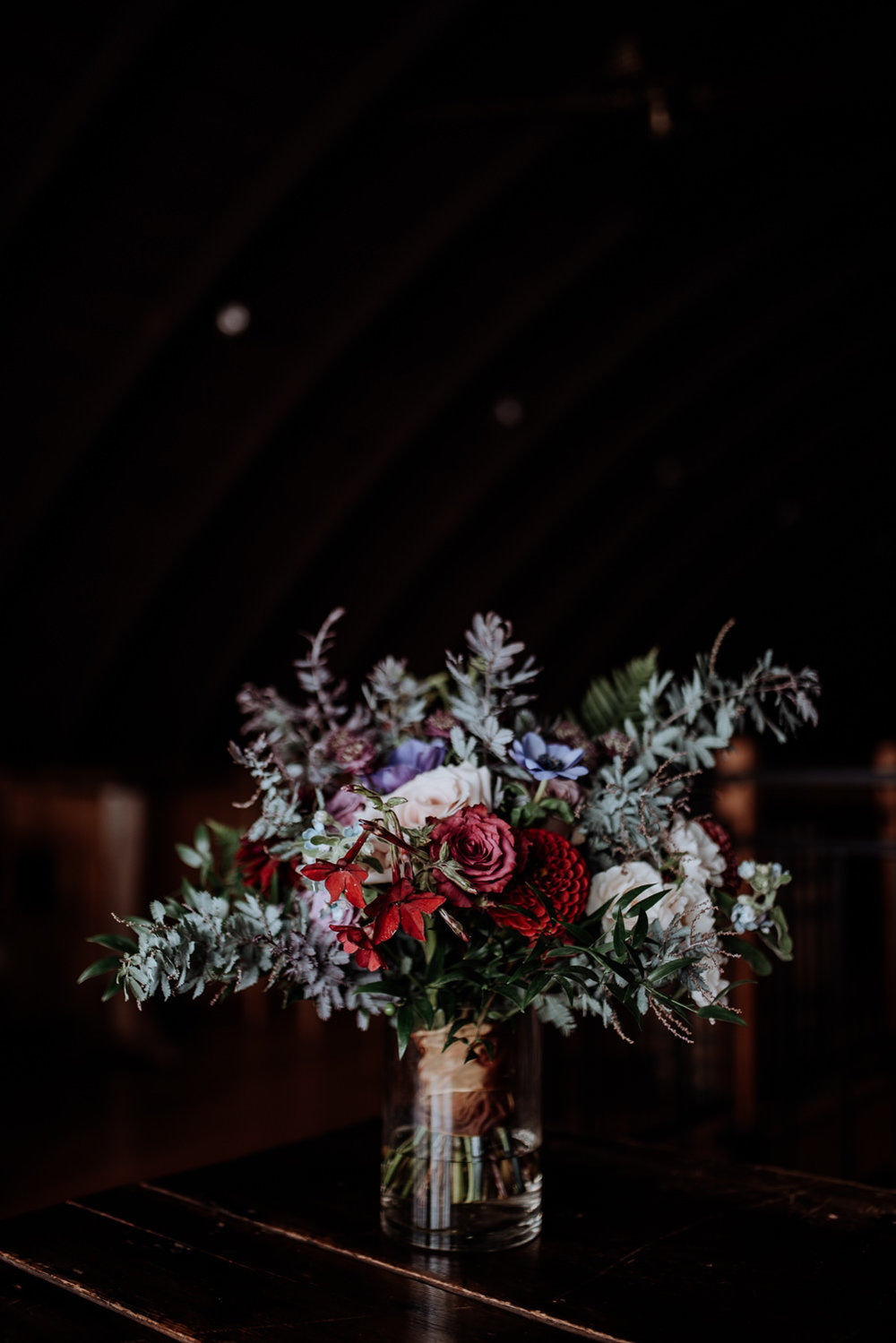Gorgeous bridal bouquet by Dark and Diamond for a Red Maple Vineyard September wedding