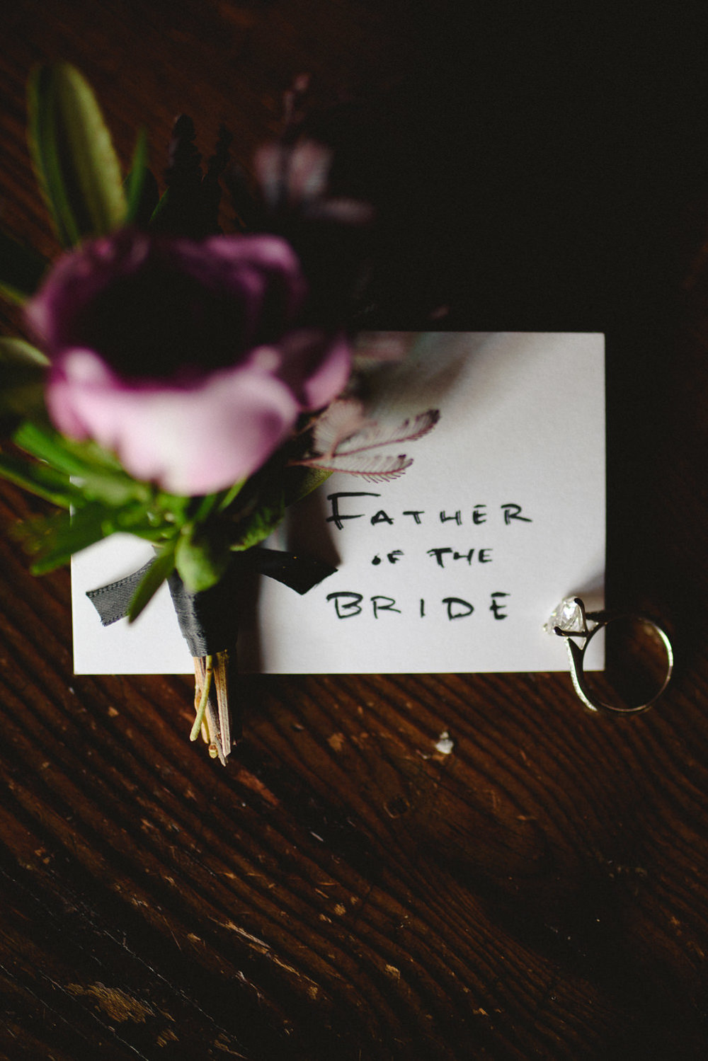 Blush rose boutonniere for the Father of the Bride