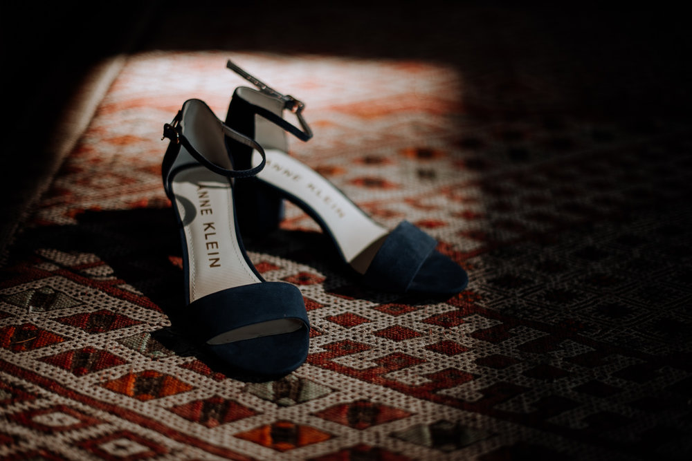 Gorgeous blue suede Anne Klein wedding shoes that matched the Bride's style 100%.