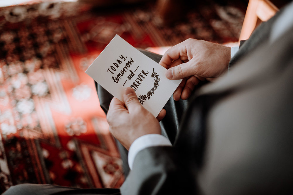 Today, Tommorow and Forever card is read by the Groom moments before he opens the gift delivered from his future wife.