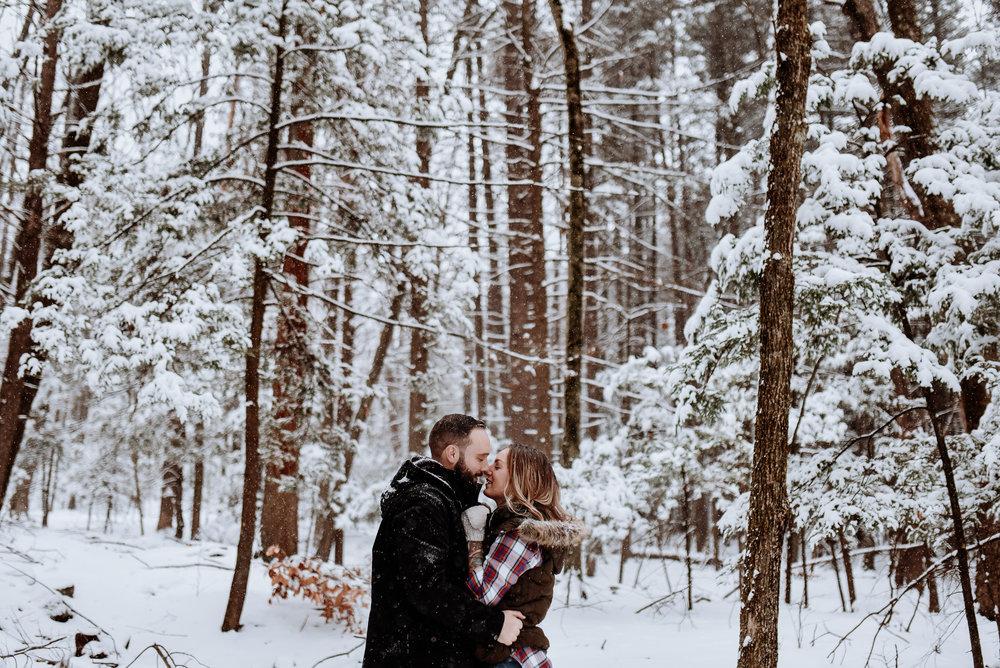 Snowy Mountain Engagement Photos - MInnewaska NY