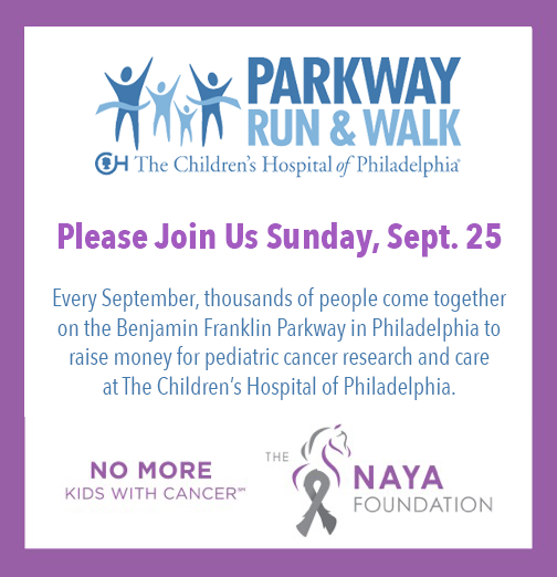 Join us on September 25th at the Benjamin Franklin Parkway in Philadelphia to raise money for pediatric cancer research and care at The Children's Hospital of Philadelphia.