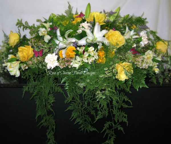 Soft White & Yellow casket spray