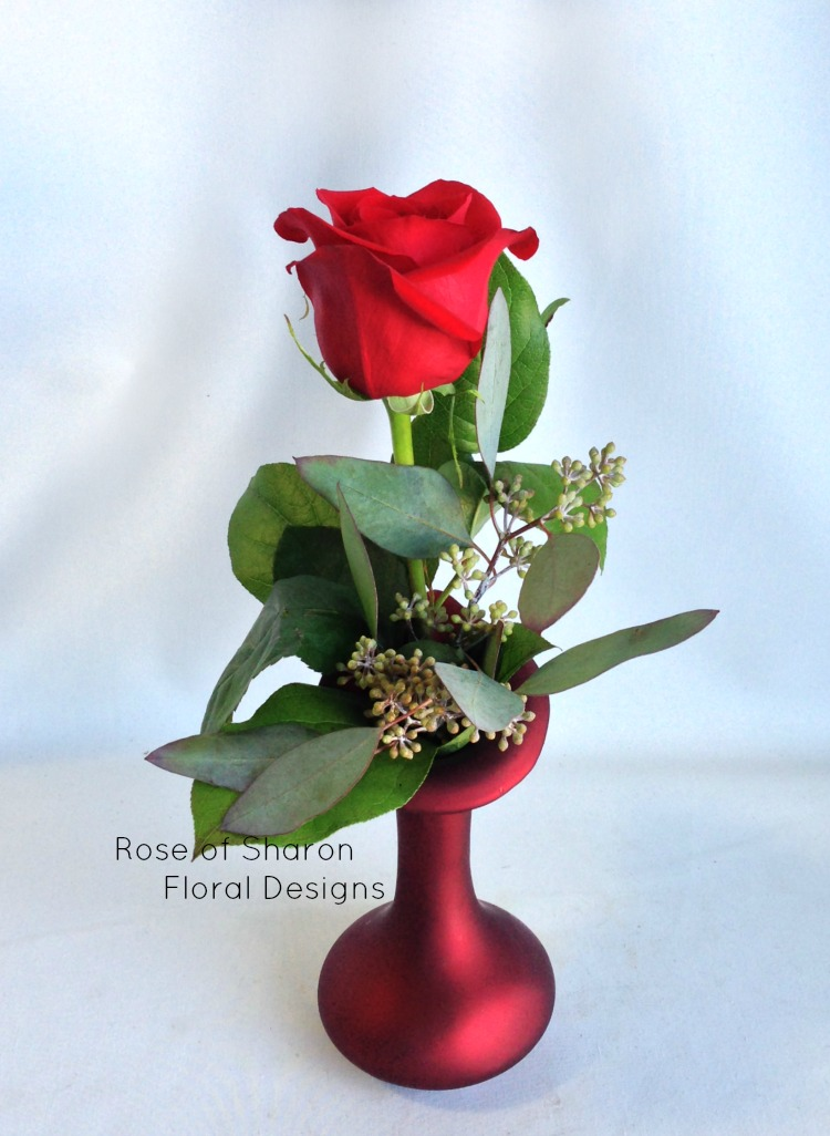Single Rose  Bud Vase With Sala and Seeded Eucalyptus, Rose of Sharon Floral Designs