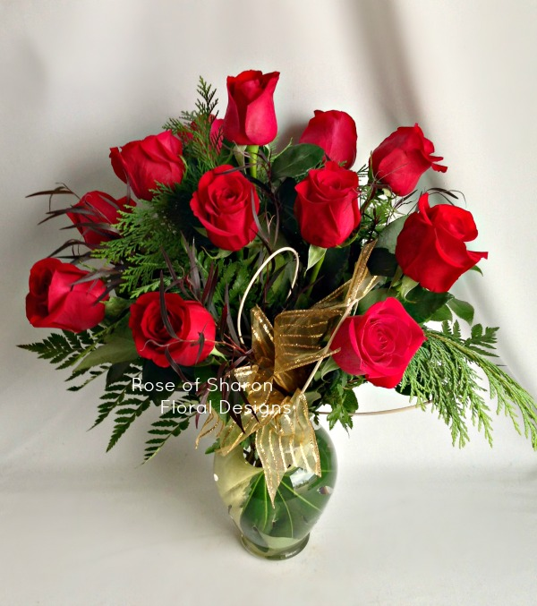 Festive Dozen Rose Arrangement, Rose of Sharon Floral Designs