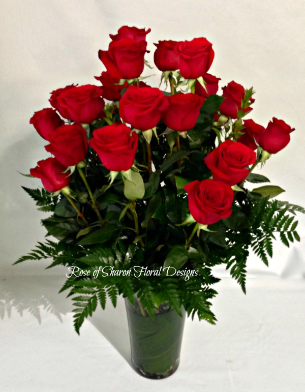 Two Dozen Rose Arrangement with Foliage, Rose of Sharon Floral Designs
