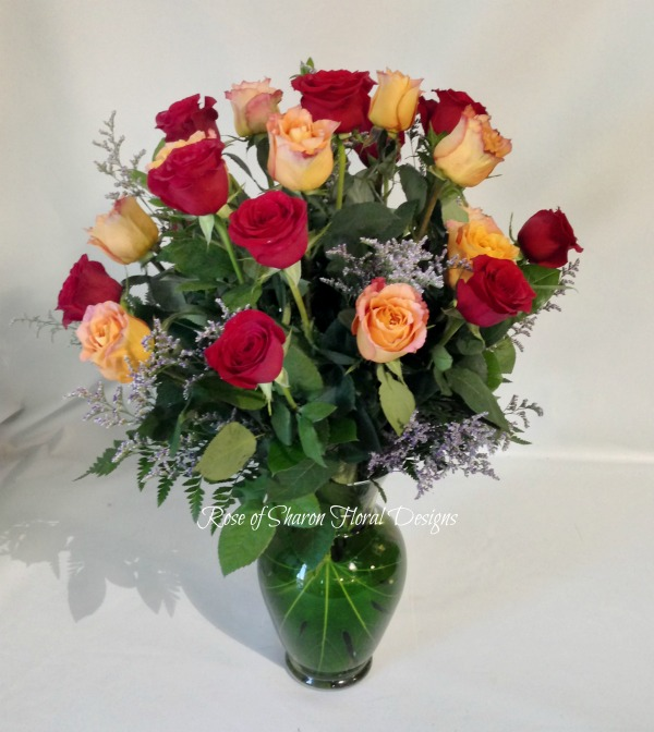 Two Dozen Assorted Roses With Foliage, Rose of Sharon Floral Designs