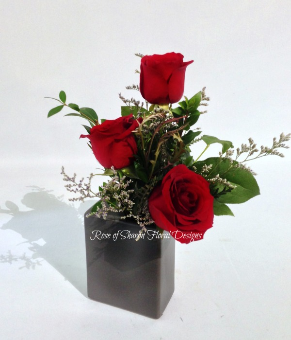 Contemporary Three Rose Vase with Foliage and Filler, Rose of Sharon Floral Designs