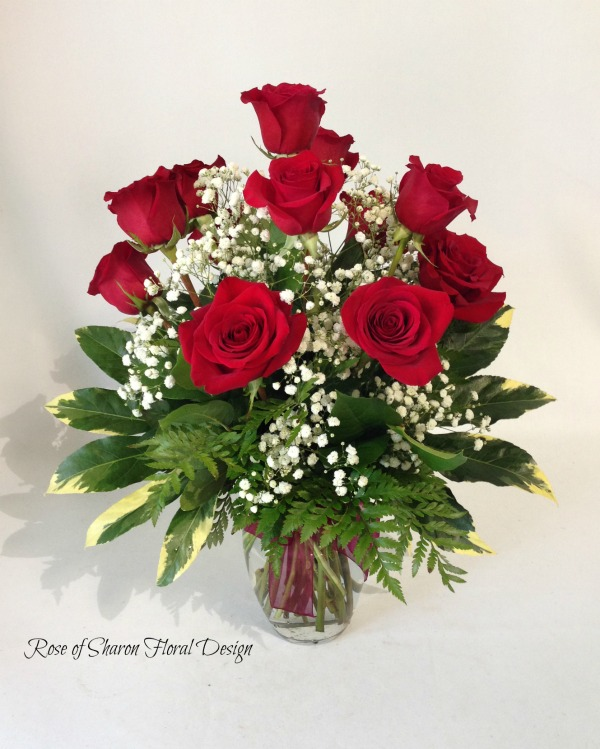 Dozen Roses with Baby's Breath and Foliage, Rose of Sharon Floral Designs