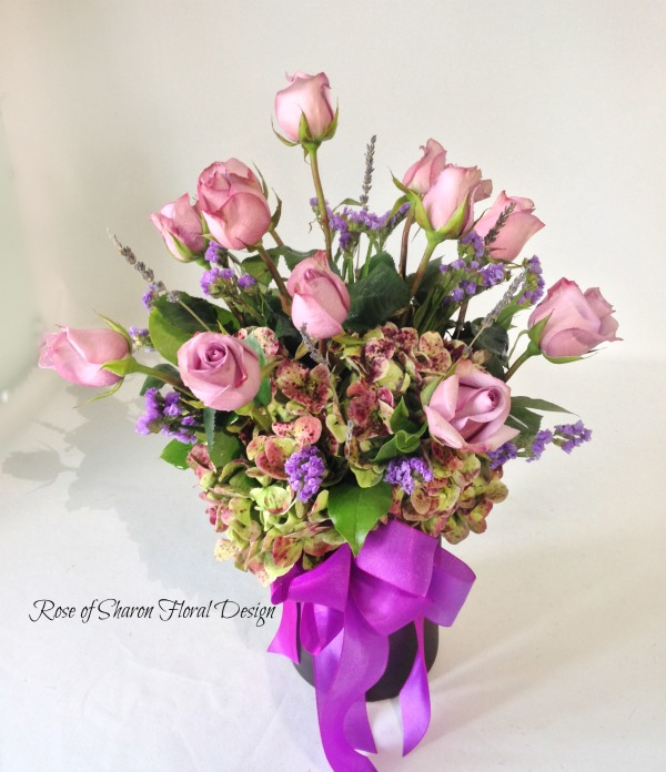 Hydrangea and Rose Arrangement with Statice and Foliage, Rose of Sharon Floral Designs