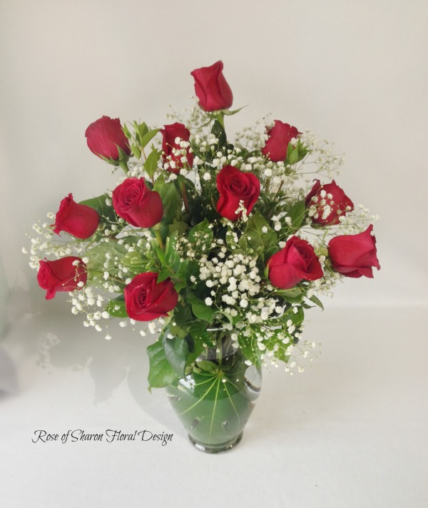 Traditional Dozen Roses with Baby's Breath and Foliage, Rose of Sharon Floral Design