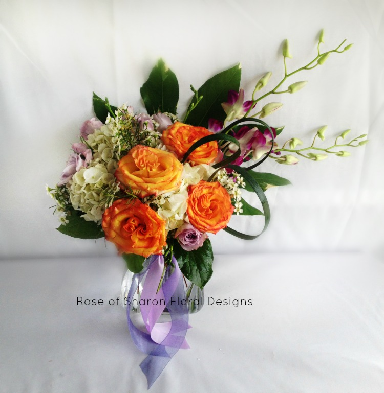 Contemporary Hydrangea, Rose and Orchid Arrangement, Rose of Sharon Floral Designs