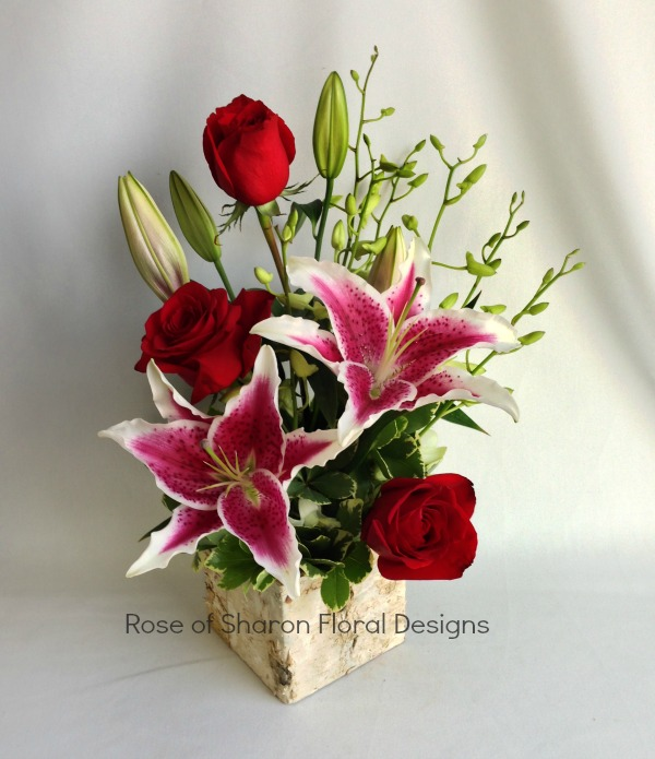 Oriental Lily, Rose and Orchid Bud Arrangement in Birch, Rose of Sharon Floral Designs