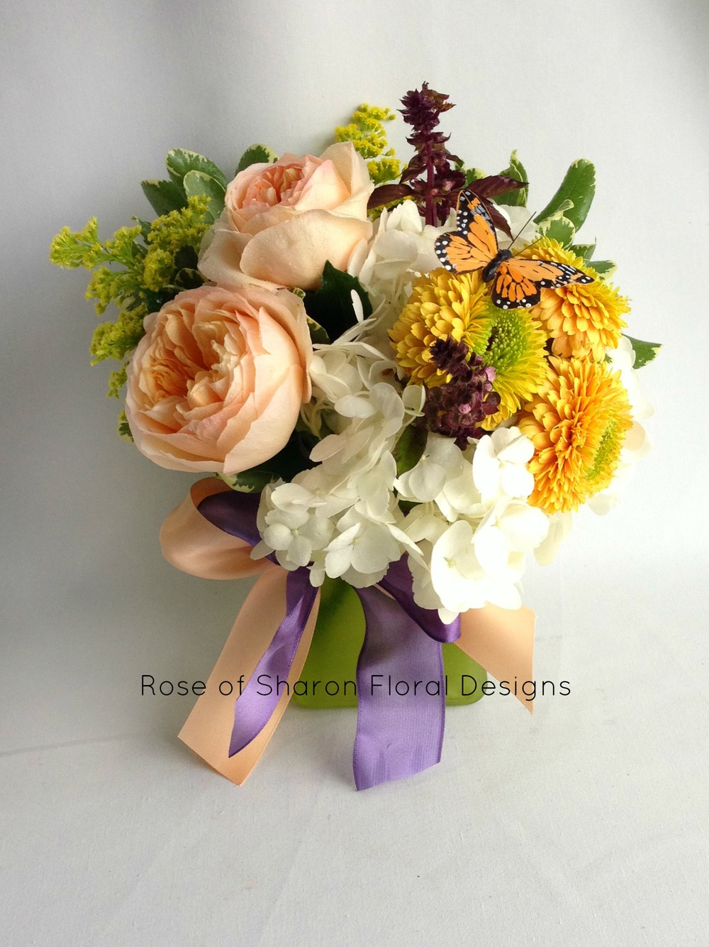 Butterfly Garden Arrangement with Garden Roses, Rose of Sharon Floral Designs