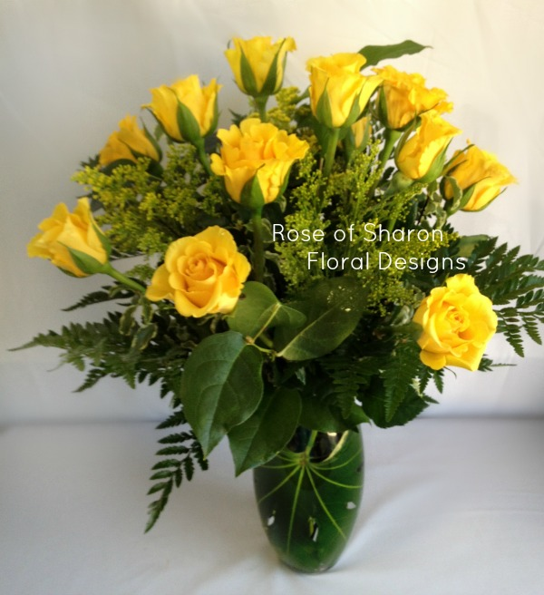 Dozen Yellow Roses with Solidago, Rose of Sharon Floral Designs