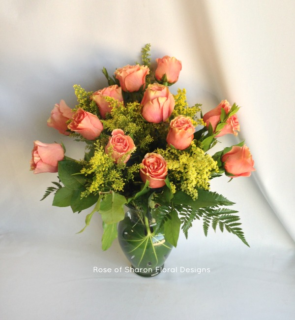 Dozen Pink Rose Arrangement with Solidago, Rose of Sharon Floral Designs