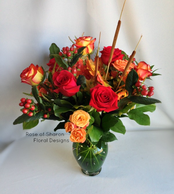 Standard and Spray Rose Arrangement with Hypericum Berries, Rose of Sharon Floral Designs