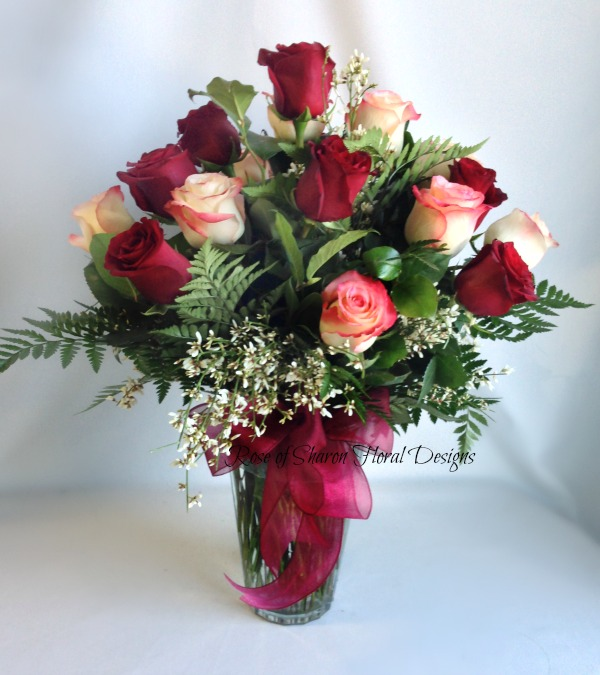 Dozen and a half Pink and Red Roses, Rose of Sharon Floral Designs