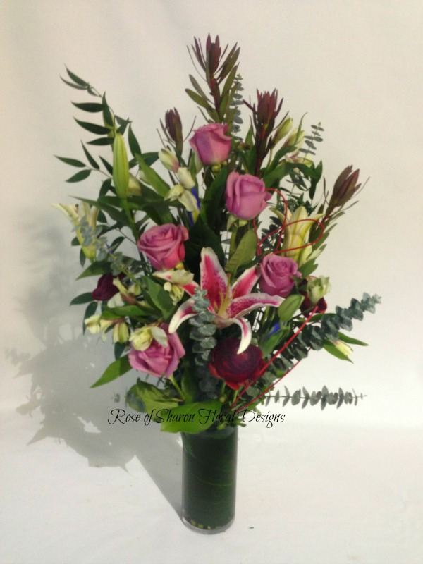 Rose and Oriental Lily Arrangement, Rose of Sharon Floral Designs