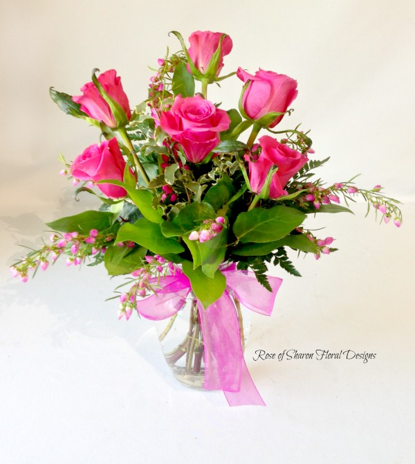 Half a Dozen Pink Roses, Rose of Sharon Floral Designs