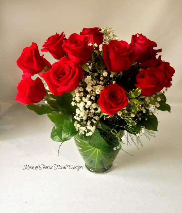 Two Dozen Red Roses with Baby's Breath, Rose of Sharon Floral Designs