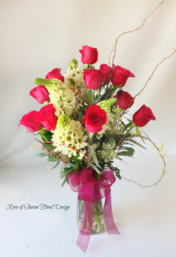 Dozen Roses with Star of Bethlehem, Rose of Sharon Floral Designs