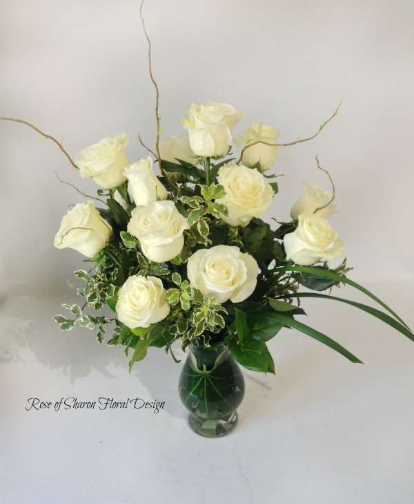 Dozen White Roses with Foliage, Rose of Sharon Floral Designs