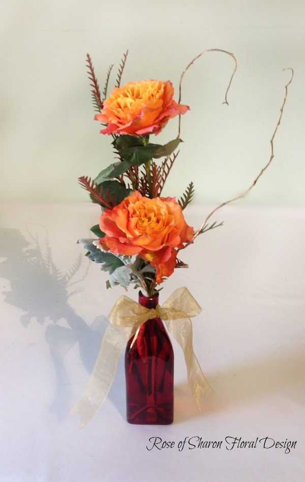 Two Free Spirit Rose Bud Vase, Rose of Sharon Floral Designs