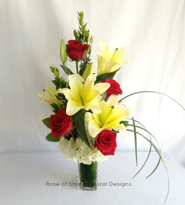 Yellow Lilies and Red Rose Arrangement, Rose of Sharon Floral Designs