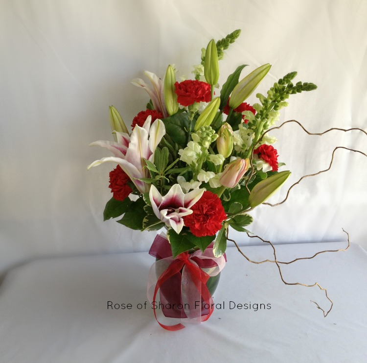 Lily and Carnation Arrangement, Rose of Sharon Floral Designs