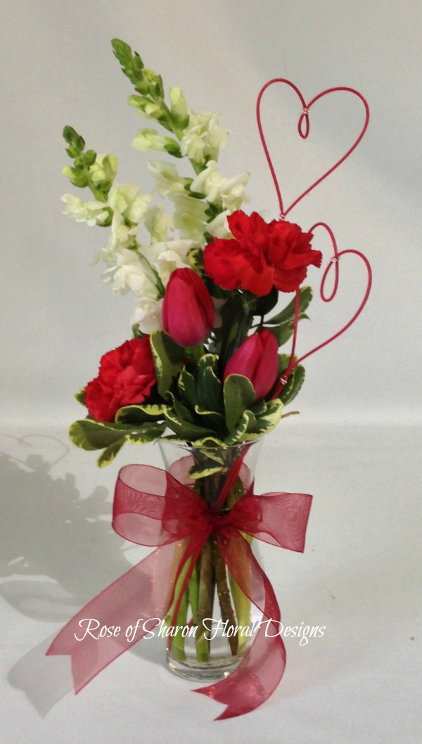 Two of a Kind: Stock, Tulips and Carnation, Rose of Sharon Floral Designs