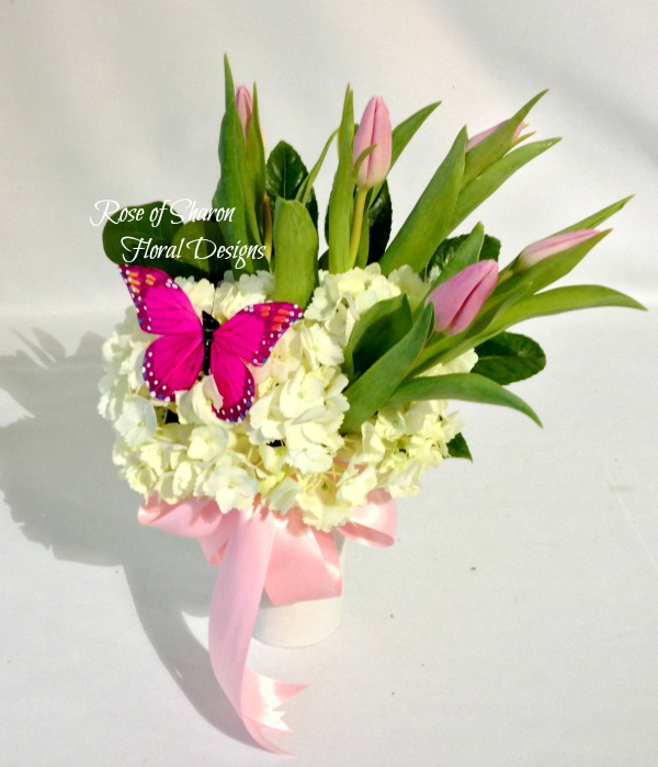 Hydrangea with Pink Tulips, Rose of Sharon Floral Designs