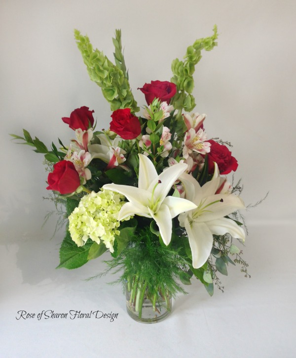 Rose, Lilies, hydrangeas and Bells of Ireland, Rose of Sharon Floral Designs