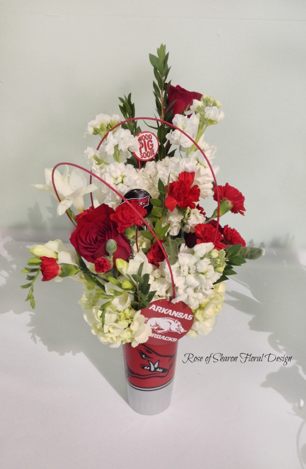 Go Hogs! Red and White Razorback Arrangement, Rose of Sharon Floral Designs