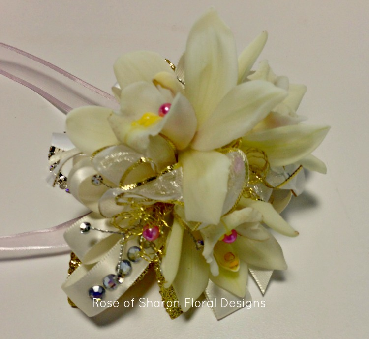 White and Gold Orchid Wrist Corsage, Rose of Sharon Floral Designs