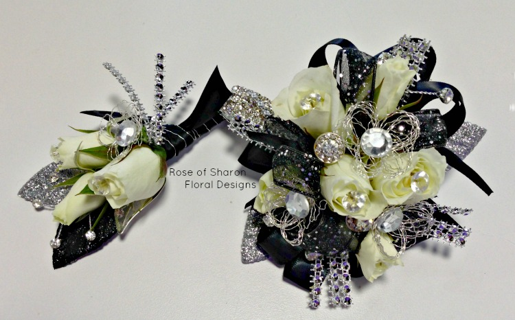 Matching Black and Silver Corsage and Boutonniere with Roses, Rose of Sharon Floral Designs