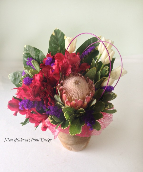 Pink Alstroemeria, Protea and Tulips, Rose of Sharon Floral Designs