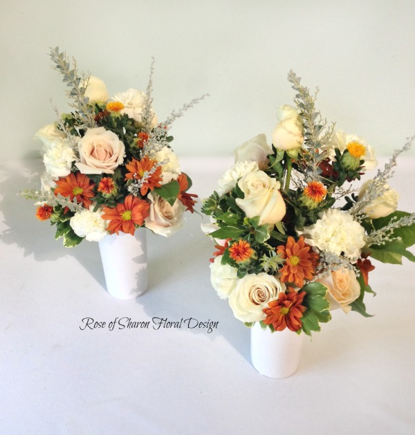 White Roses and Carnations with Orange Daisies, Rose of Sharon Floral Designs