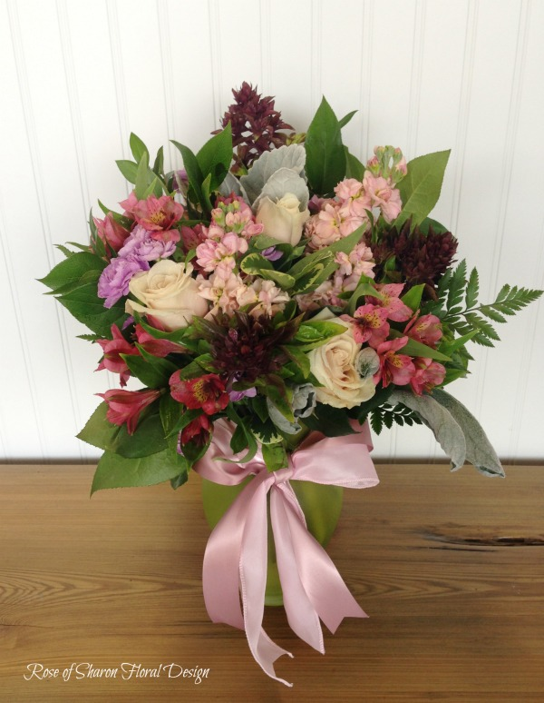 Roses, Stock, Alstroemeria and Basil, Rose of Sharon Floral Designs