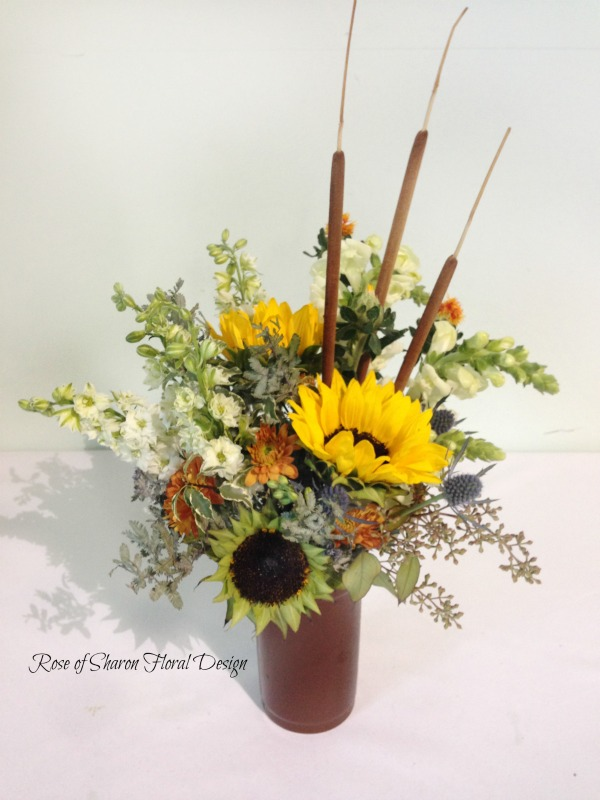 Sunflowers and Stock with Cattails, Rose of Sharon Floral Designs