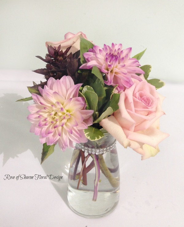 Roses, Dahlias and Basil, Rose of Sharon Floral Designs