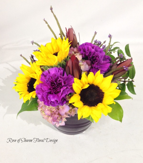 Hydrangeas, Carnations and Sunflowers, Rose of Sharon Floral Designs