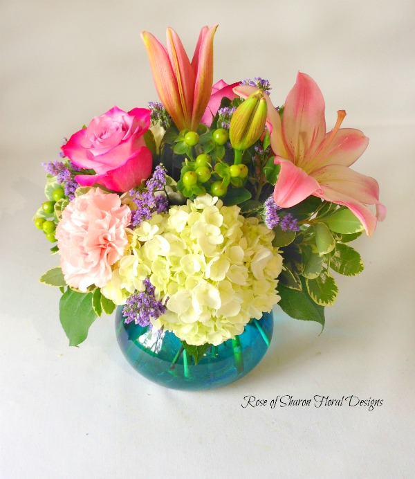 Hydrangeas with Lilies, Roses and Carnations, Rose of Sharon Floral Designs