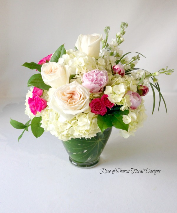 Hydrangeas, Garden Roses, Peonies and Stock, Rose of Sharon Floral Designs